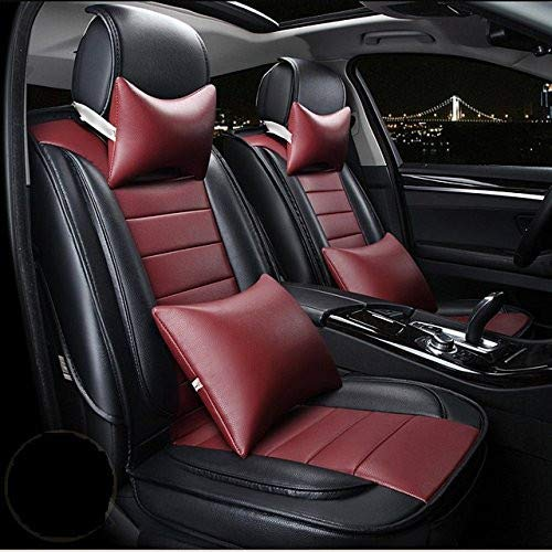 Leatherette Custom Fit Front and Rear Car Seat Covers Compatible with Tata Nano, (Black/Cherry)