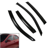 Side Rain Door Visor Compatible with Hyundai Elite i20, Set of 4 [Black]