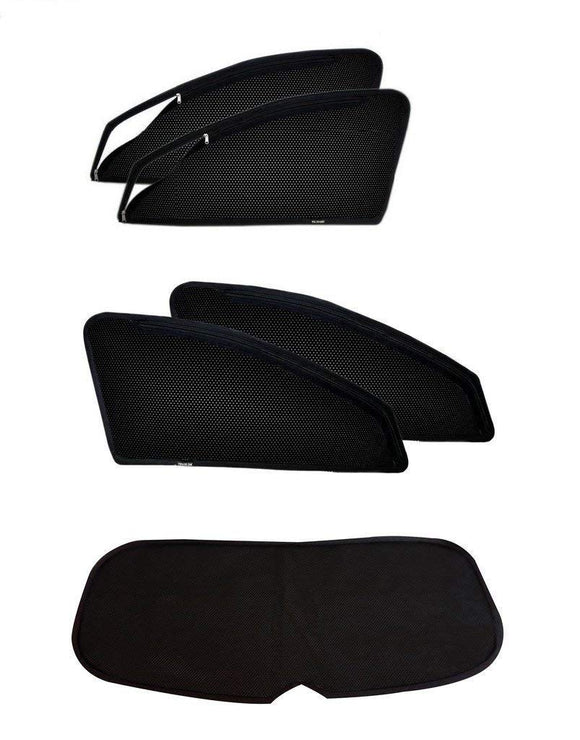 ZipCombo Side Window Magnetic Zipper Sun Shades with Rear Window Sun Shades Compatible with Hyundai Verna Fluidic (2011-2016), Set of 5