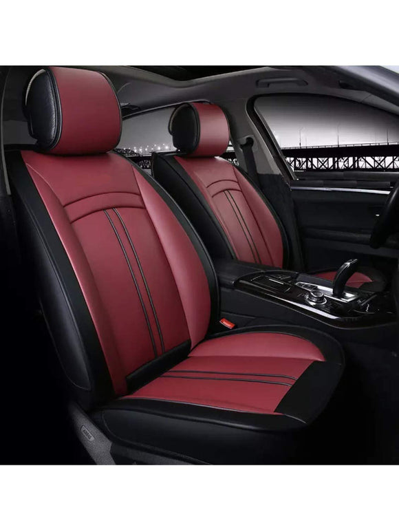 Leatherette Custom Fit Front and Rear Car Seat Covers Compatible with Hyundai Eon, (Black/Cherry)