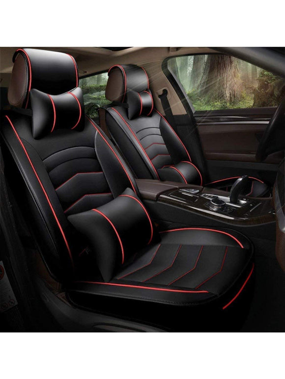 Leatherette Custom Fit Front and Rear Car Seat Covers Compatible with Nissan Sunny, (Black/Red)
