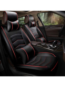 Leatherette Custom Fit Front and Rear Car Seat Covers Compatible with Mahindra TUV 300, (Black/Red)