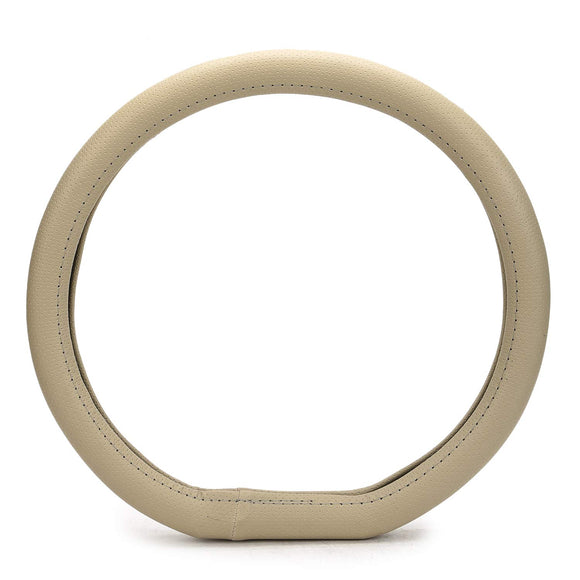 ExtraGripDshape105 Flat Bottom D-Shape Anti-Slip Steering Wheel Cover Compatible with Hyundai Santro (2018-2020), Beige