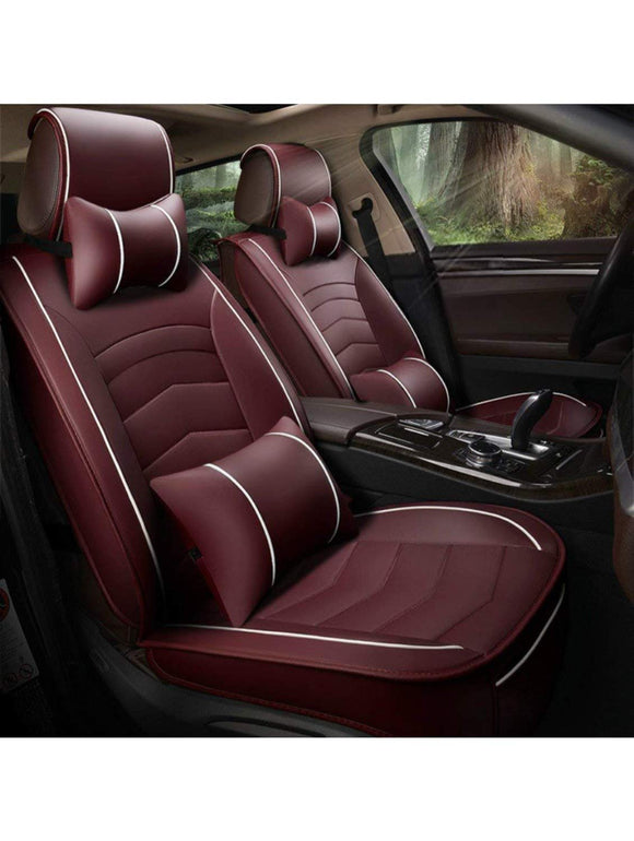Leatherette Custom Fit Front and Rear Car Seat Covers Compatible with Tata Nexon, (Cherry/White)