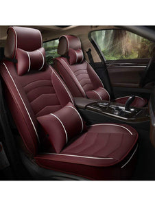 Leatherette Custom Fit Front and Rear Car Seat Covers Compatible with Ford Figo (2010-2014), (Cherry/White)