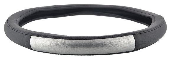 ExtraPGrip Anti-Slip Car Steering Wheel Cover Compatible with Ford Figo Aspire, (Black/Silver)