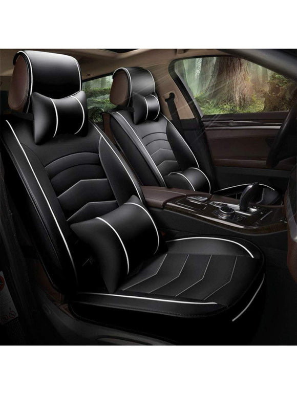Leatherette Custom Fit Front and Rear Car Seat Covers Compatible with Hyundai Verna (2017-2020), (Black/White)