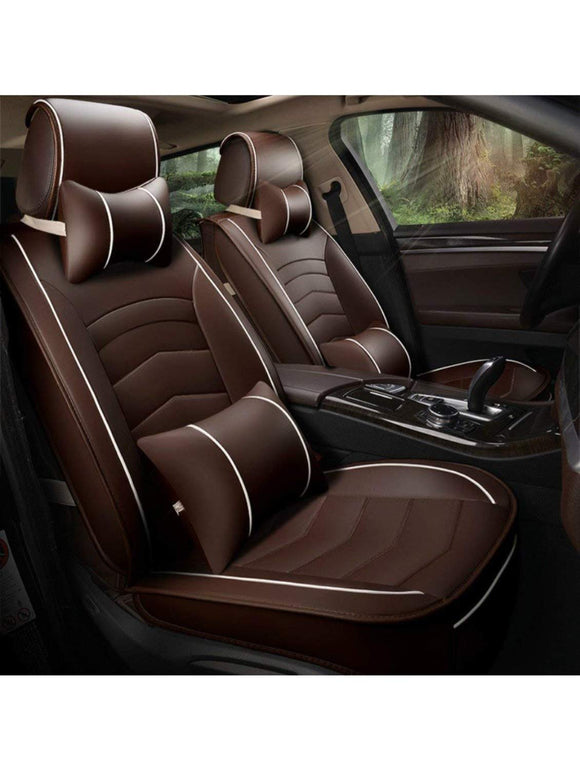 Leatherette Custom Fit Front and Rear Car Seat Covers Compatible with Hyundai Verna (2017-2020), (Coffee/White)
