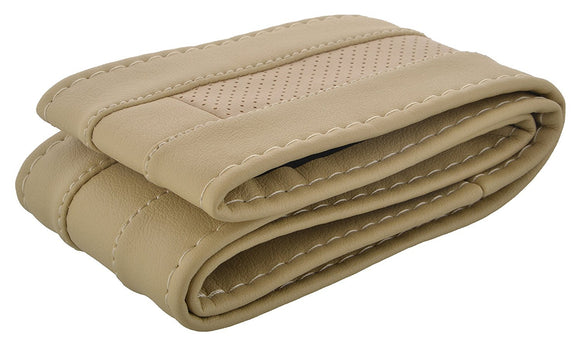 Stitchable Car Steering Cover Compatible with Maruti Suzuki A-Star, (Beige)