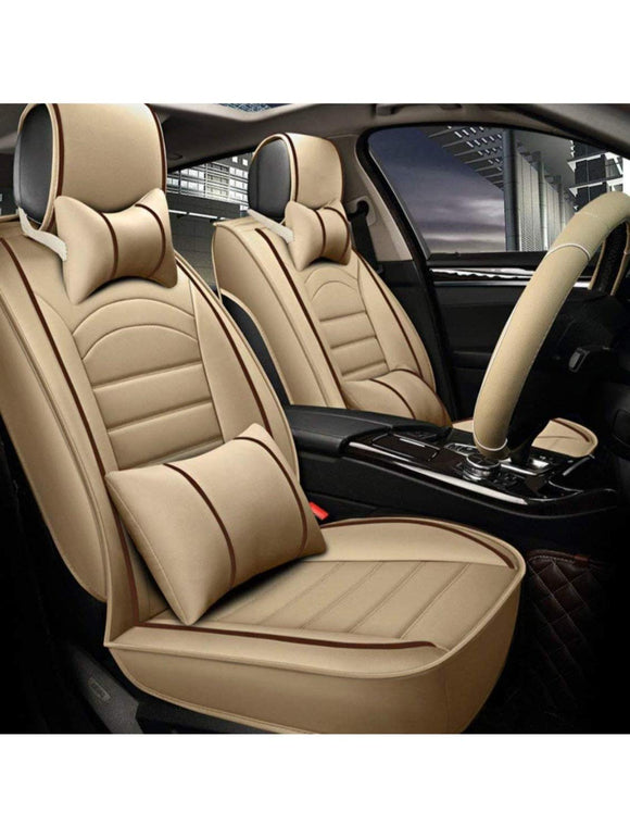 Leatherette Custom Fit Front and Rear Car Seat Covers Compatible with Hyundai Eon, (Beige/Coffee)
