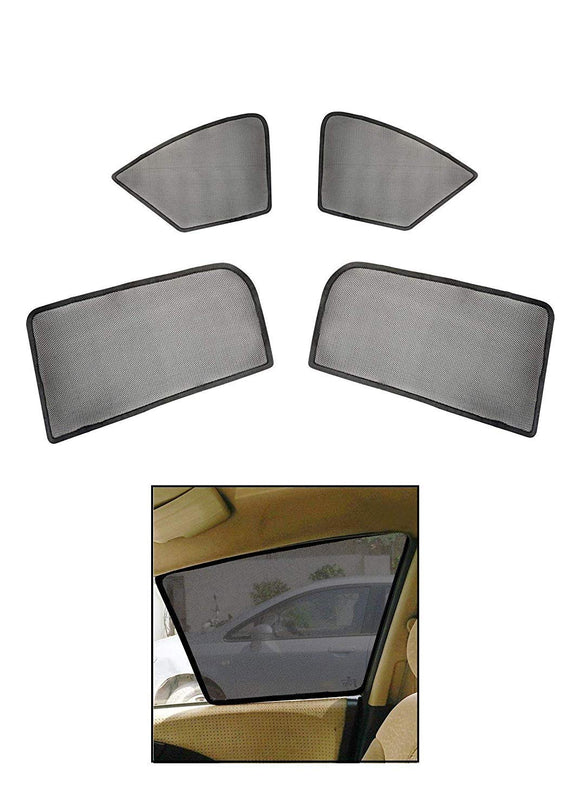 Car Side Window Magnetic Sun Shades/Curtains with Side Rear View Mirror Visibility Compatible with Mahindra Quanto, Set of 4