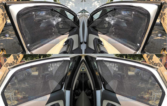 Hi Art Magnetic Side Window Zipper Sun Shade Compatible with Maruti SX4, Set Of 4