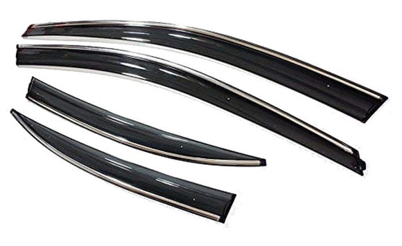 Chrome Line Side Window Door Visor Compatible With Datsun Redi Go, Set of 4
