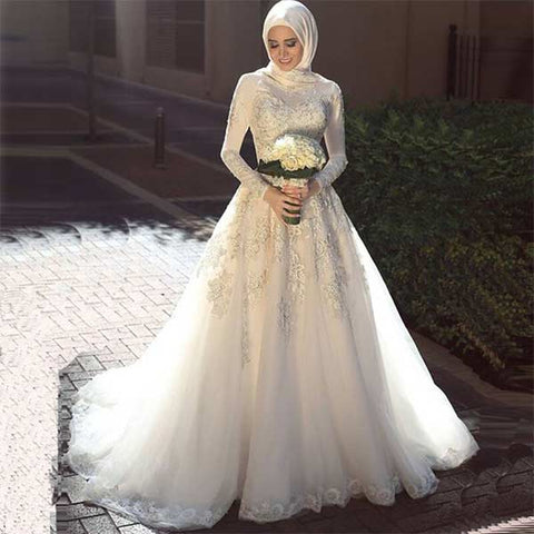 fully covered wedding gowns