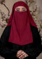 Maroon Three Layered Niqab