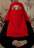 Red Three Layered Niqab