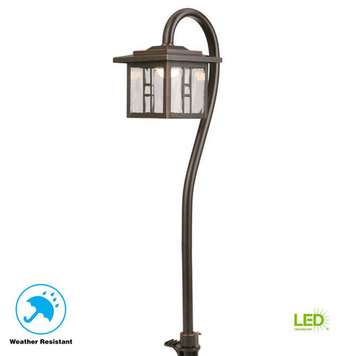 10-Watt Equivalent Oil-Rubbed Bronze Integrated LED Tiffany Style Path Light