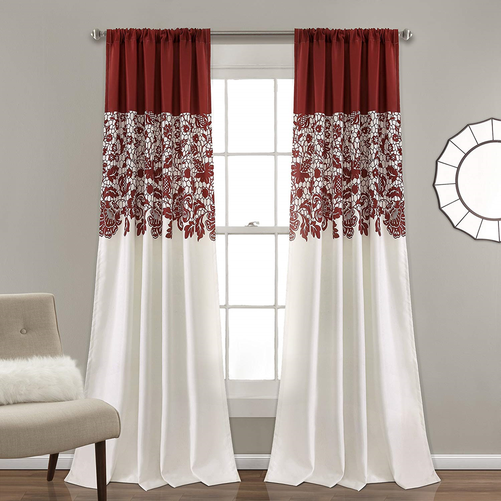 Lush Decor Estate Garden Print Curtains Room Darkening Window Panel Set for Pair