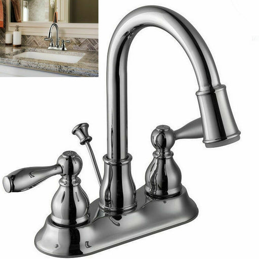 Glacier Bay Mandouri 4 in Centerset 2-Handle LED High-Arc Bathroom Faucet Chrome