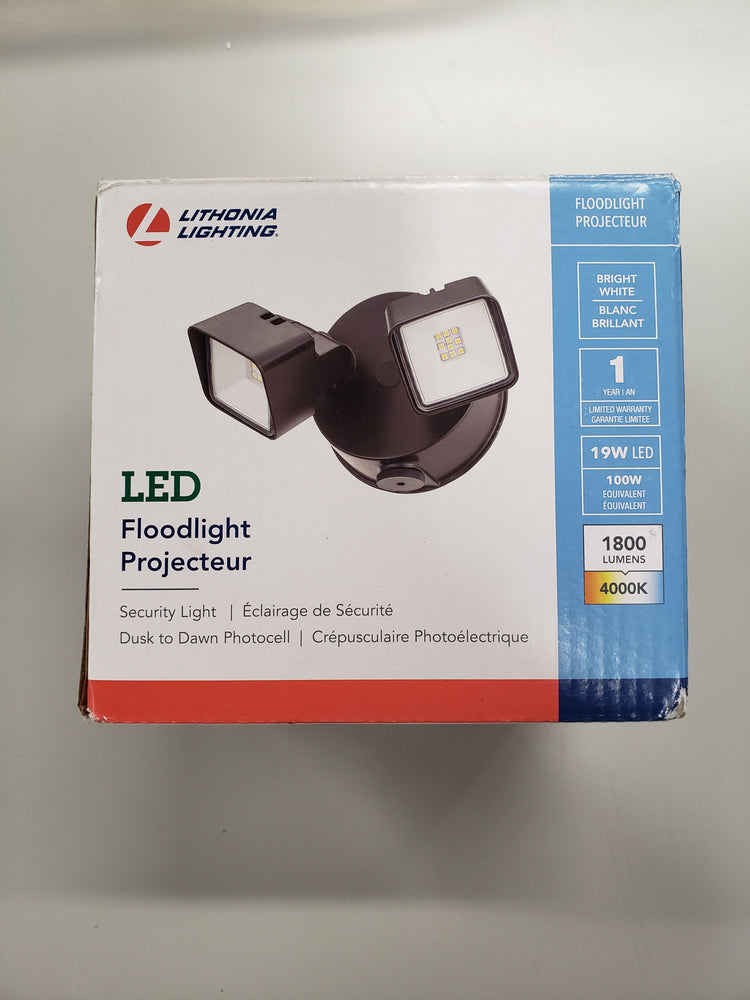 Lithonia Lighting 100-Watt EQ Bronze Integrated LED Dusk-to-Dawn Floodlight
