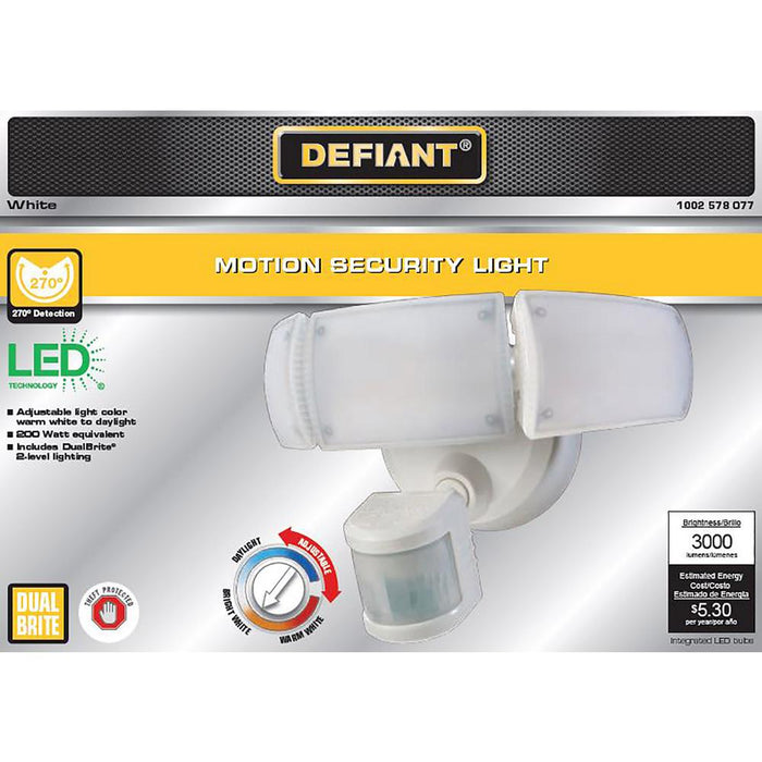 Defiant 270-Degree White Motion Activated Outdoor LED Triple Head Flood Light
