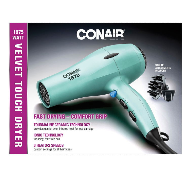 Conair Velvet Touch Dryer Blue 1875 Watt
