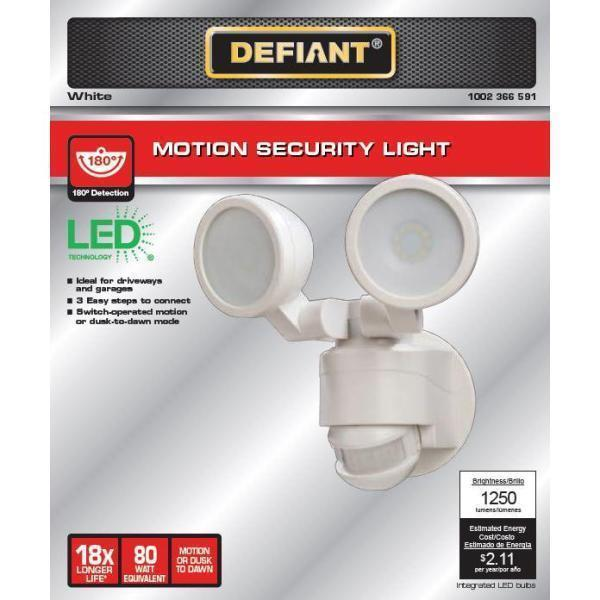 Defiant 180 Degree White Motion Activated Outdoor Integrated LED Twin Head Flood