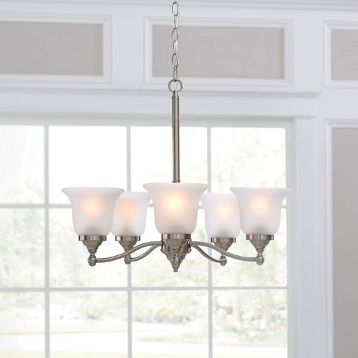 5-Light Brushed Nickel Modern/Contemporary Etched Glass Shaded Chandelier