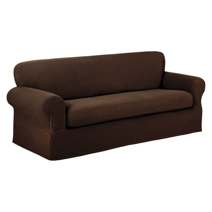 Chocolate Stretch Reeves Sofa Slipcover (2 Piece) - Maytex NEW* (Free shipping)