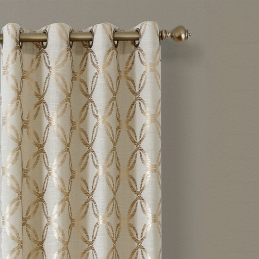 Elrene Home Fashions Modern Metal Print Linen Single Panel Window Curtain Dra...