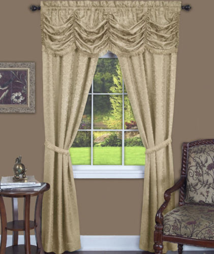 Fairfield Window Curtain Set Tan 84X55
