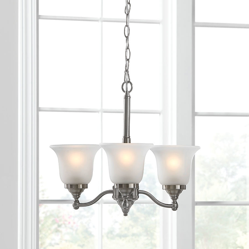 Portfolio Roseall 3-Light Brushed Nickel Modern/Contemporary Etched Glass Shaded