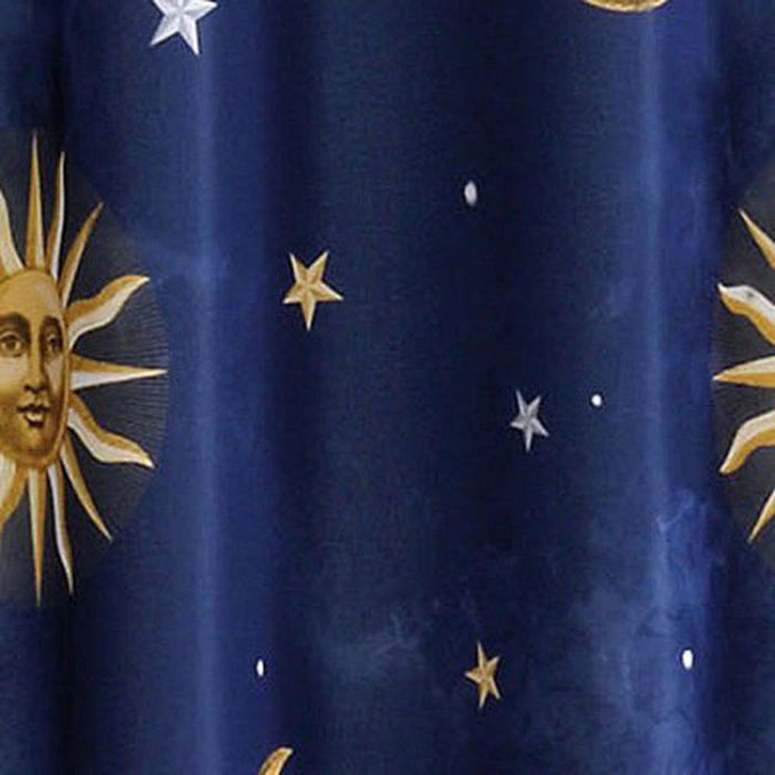 Celestial Sun Moon Stars Fabric Shower Curtain Bath Decor Navy Blue Gold Sky