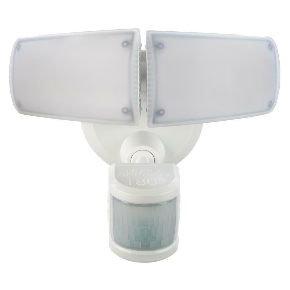 Defiant 180° White Motion Activated Outdoor Integrated LED Twin Head Flood Light