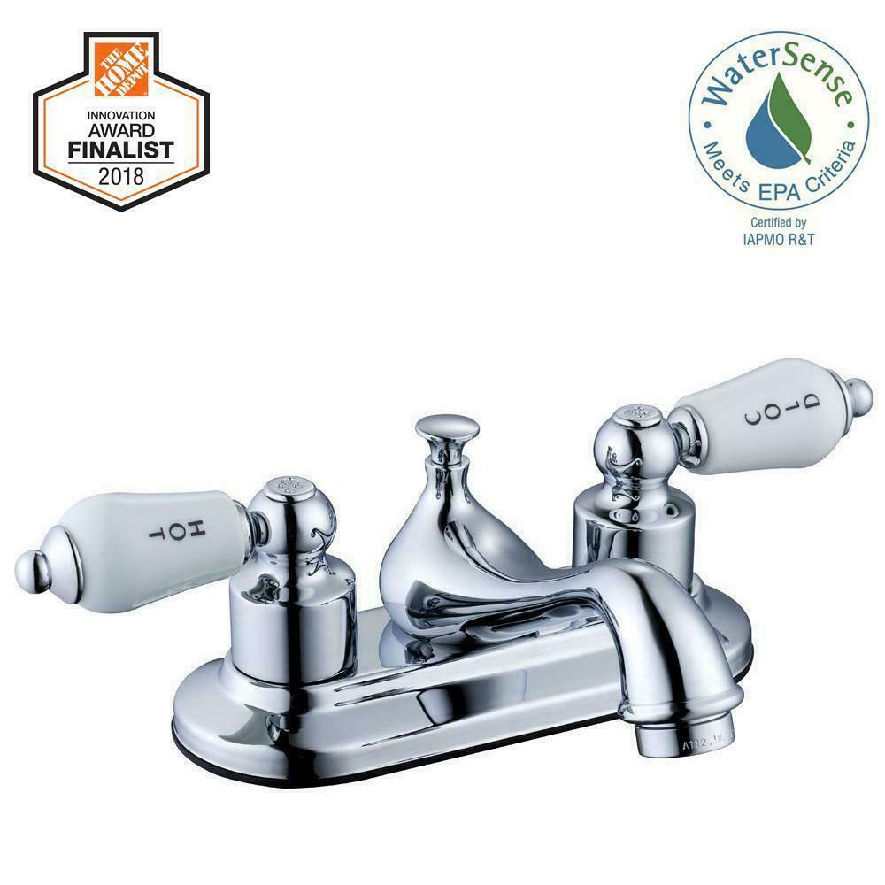 Glacier Bay Bathroom Faucet Teapot Ceramic Disc Valves 2 Handle Chrome 4 in.