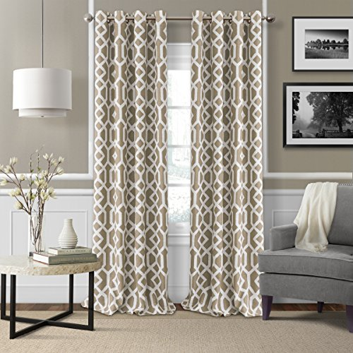 "Elrene Home Fashions 26865901191 Grayson Trellis Room Darkening Grommet Window Curtain Drape Panel, 52"" x 84"", Linen, 52"" W x 84"" L (1"