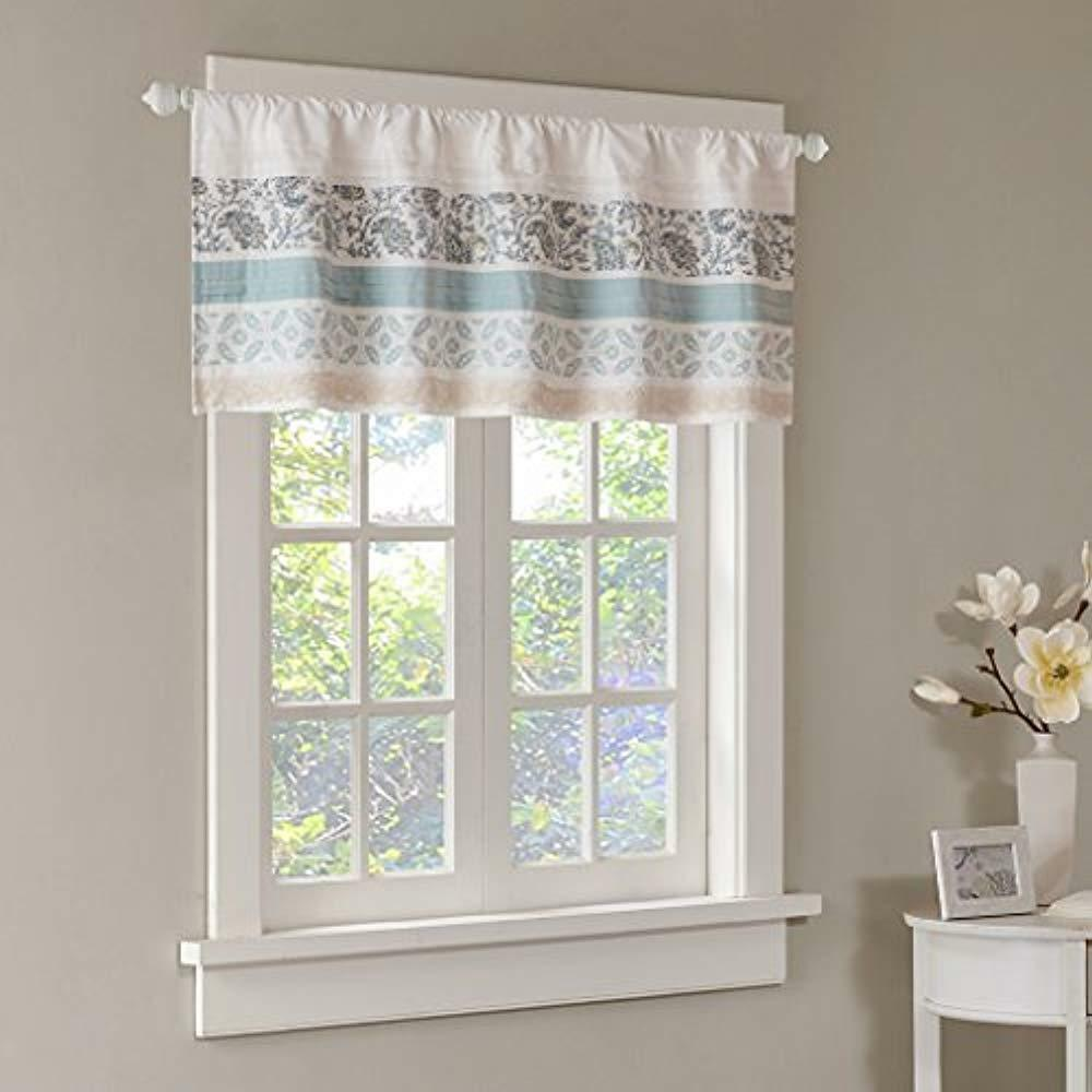 Dawn Printed Blue Window Valance , Cotton Pieced Rod Pocket Floral Valances
