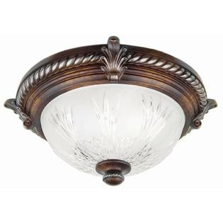 Hampton Bay 2 Light Volterra Bronze Flush Mount Etched Clear Glass Shade Steel Fixture (For parts Only)