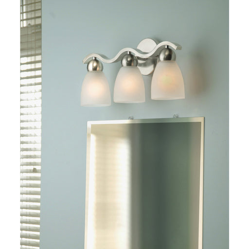 Portfolio Paces 3-Light 19.3-in Brushed Nickel Cone Vanity Light