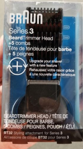 Braun Series 3 Beard Trimmer Head + 5 Combs, BT32 Styling Attachment