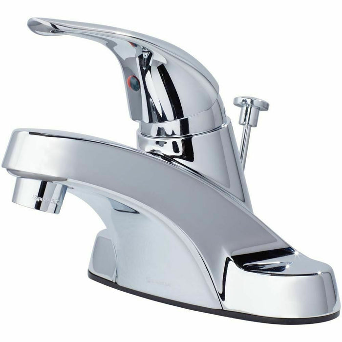 BATHROOM SINK FAUCET SINGLE HANDLE 4 inch Center-set Low-Arc Glacier Bay Chrome