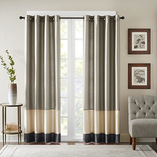 Bombay Black Curtains for Living Room, Modern Contemporary Grommet Curtains for Bedroom, Conner Pieced Fabric Light Window Curtains, 50X84, 1-Panel Pack