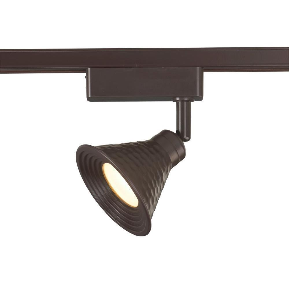 Commercial Electric Track Lighting Head 50-Watt Adjustable Hammered Shade Bronze