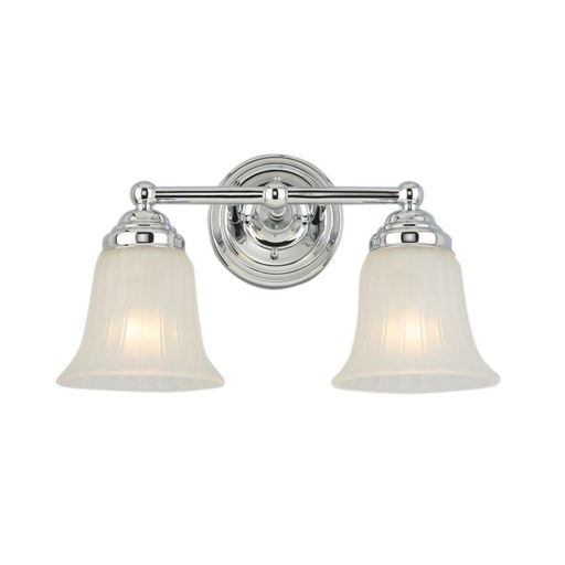 Hampton Bay 2-Light Chrome Vanity Light with Frosted Glass Shade