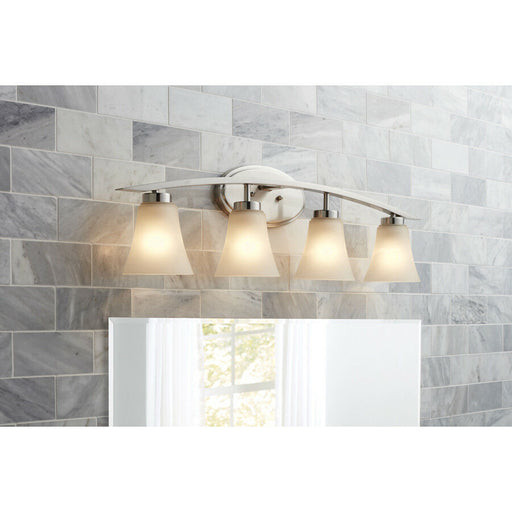 Portfolio Lyndsay 4-Light 30.16-in Satin Nickel Bell Vanity Light Bar
