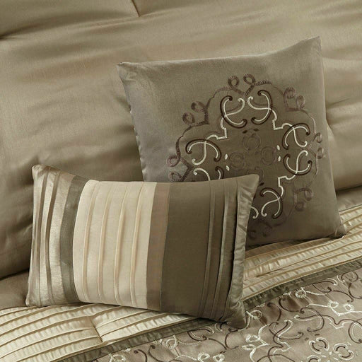 24pc Taupe & Brown Embroidered Comforter Set, Sheets, Pillows, Curtains and More
