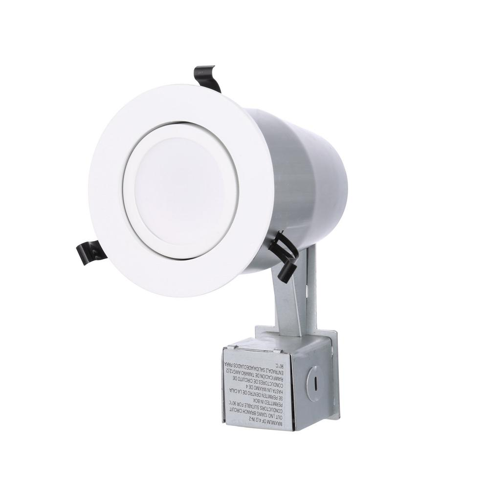 4 in. Matte White Recessed Gimbal Integrated LED Lighting Kit LK4G2MW LED M4