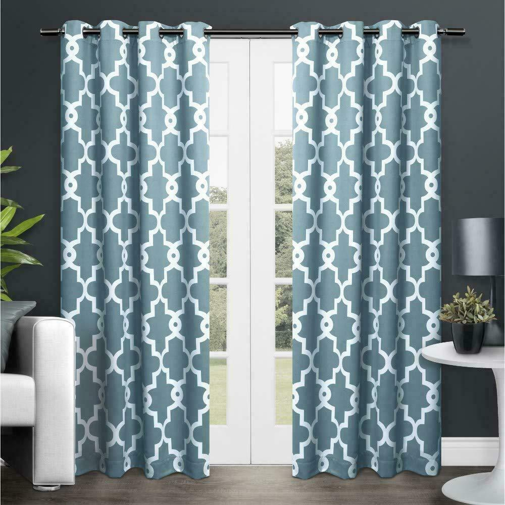 Exclusive Home Ironwork Sateen Woven Blackout Grommet Top Curtain Panel Pair,