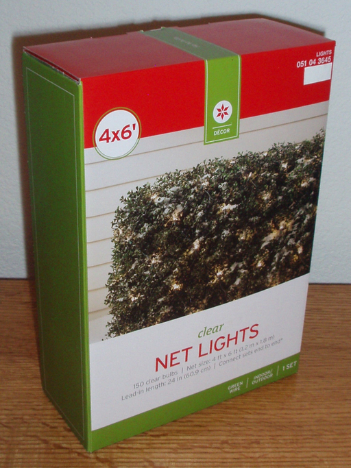 4 X 6 Foot Clear Net Christmas Lights Decor 150 Bulbs Solid or Flashing