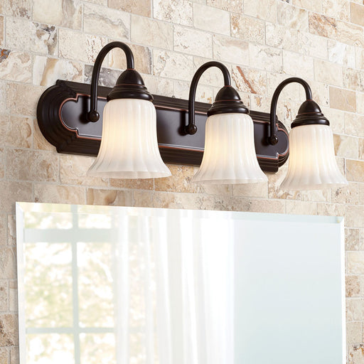 3 Light Oil-Rubbed Bronze Frosted Glass Shade Bathroom Vanity Light Fixture